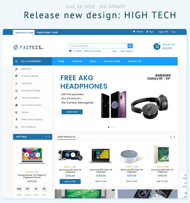 Fastest Plus - Best Prestashop 1.7 with 15  Unique Homepages - High Tech